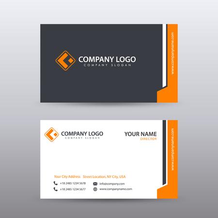 Nowoczesny kreatywny i czysty szablon wizytówki z pomarańczowym kolorem czarnym. W pełni edytowalny wektor.