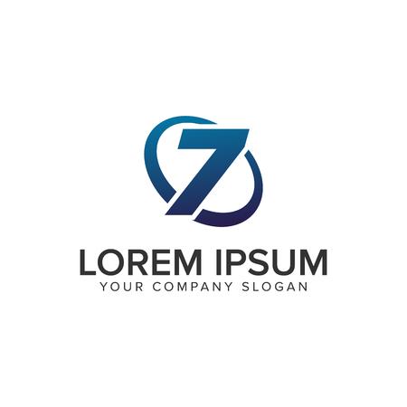 Creative modern Number 7 Logo design concept template . fully editable vector