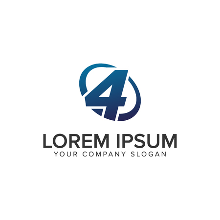 Creative modern Number 4 Logo design concept template . fully editable vector Illustration