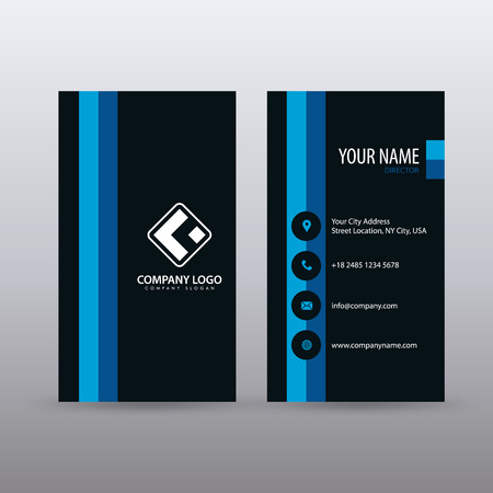 Modern Creative vertical Clean Business Card Template with blue Black color . Fully editable vector.
