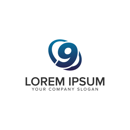 Creative modern Number 9 Logo design concept template . fully editable vector