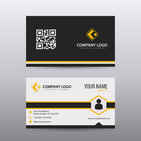 Modern Creative and Clean Business Card Template with orange Black color . Fully editable vector. Illustration
