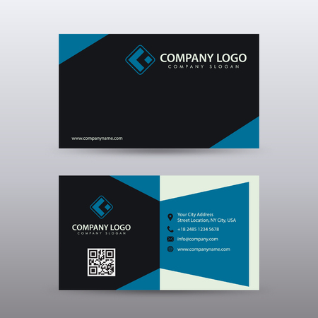 Modern Creative and Clean Business Card Template with blue Black color . Fully editable vector.