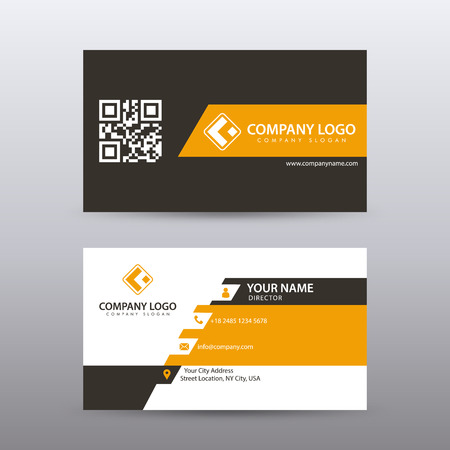 Modern Creative and Clean Business Card Template with orange Black color . Fully editable vector.  イラスト・ベクター素材