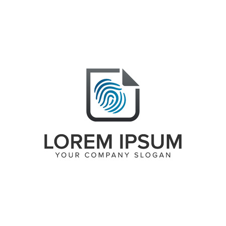 finger Print security document logo design concept template. fully editable vector