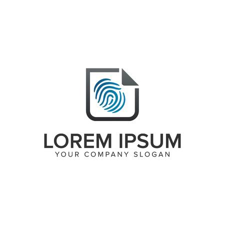 Fingerabdruck-Sicherheitsdokument-Logo-Design-Konzept-Vorlage. vollständig bearbeitbarer Vektor Standard-Bild - 94504022