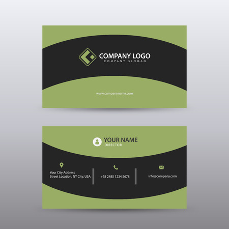 Modern Creative and Clean Business Card Template with green Black color . Fully editable vector.