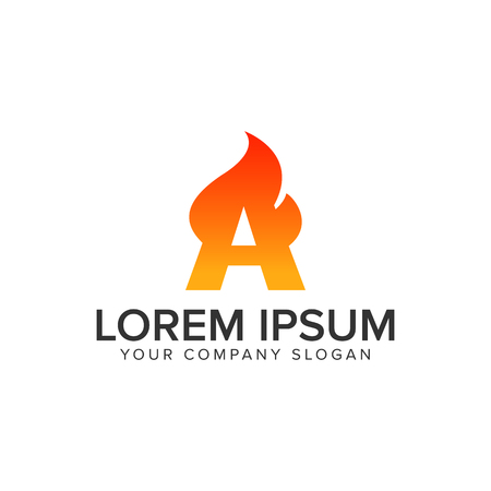 letter A ignition Flame logo design concept template. fully editable vector