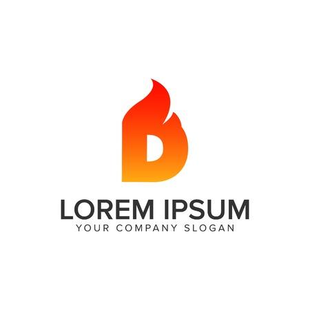 letter D ontsteking vlam logo ontwerpsjabloon concept. volledig bewerkbare vector