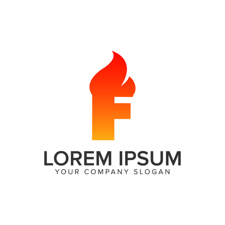 letter F ignition Flame logo design concept template. fully editable vector Illustration