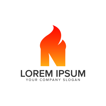 letter N ignition Flame logo design concept template. fully editable vector Illustration