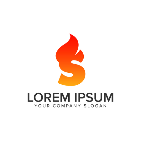letter S ignition Flame logo design concept template. fully editable vector