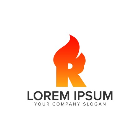 letter R ignition Flame logo design concept template. fully editable vector Illustration