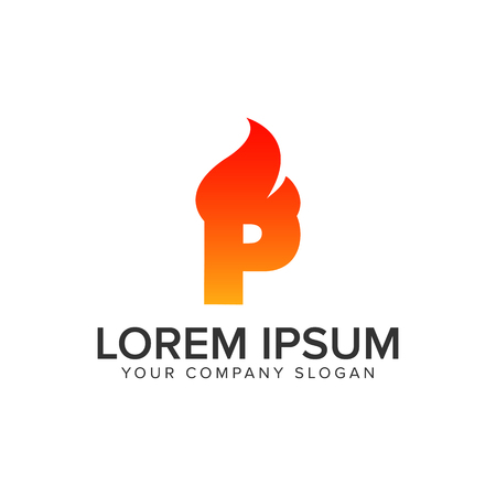 letter P ignition Flame logo design concept template. fully editable vector