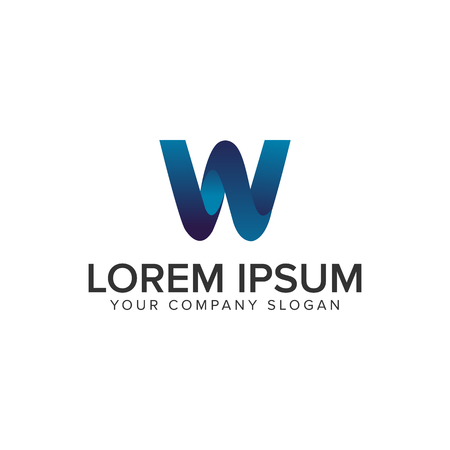 Modern Letter W 3D logo design concept template. fully editable vector Çizim