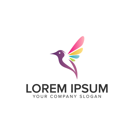 Soft multi-color bird icon design concept template. Fully editable vector illustration.
