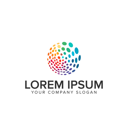 Multicolor circular dot logo Çizim