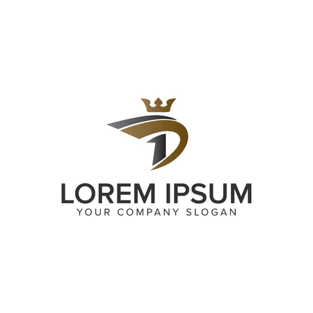 Letter D met Crown logo ontwerpsjabloon concept. volledig bewerkbare vector