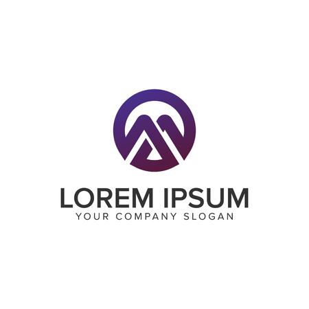 Modern Letter M circle logo design concept template. fully editable vector
