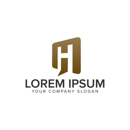 Letter H door open logo design concept template. fully editable vector Vettoriali