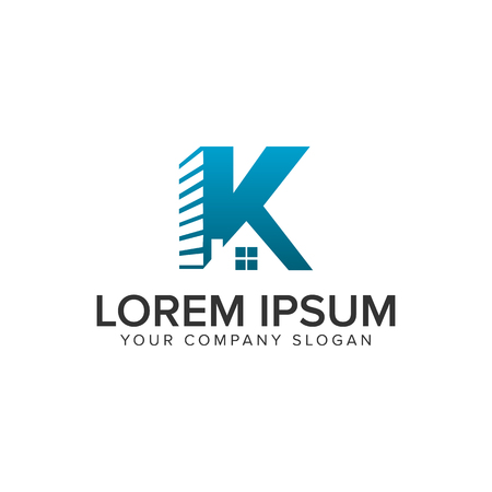 Letter K real estate logo design concept template. fully editable vector