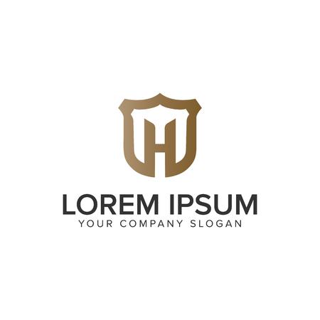 Luxury Letter H sield logo design concept template. fully editable vector