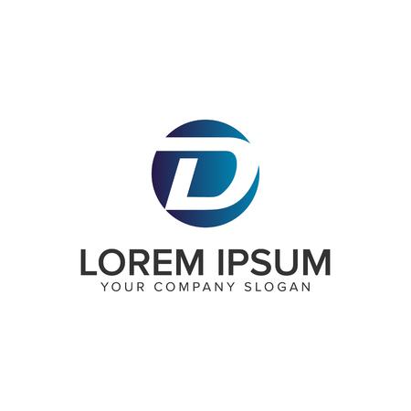 Letter D cirkel logo concept ontwerpsjabloon. volledig bewerkbare vector Stock Illustratie