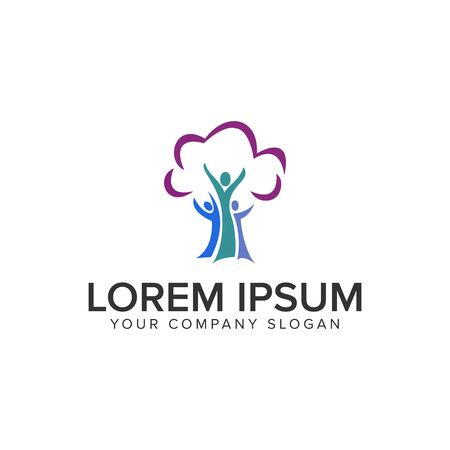 people tree care logo design concept template. fully editable vector
