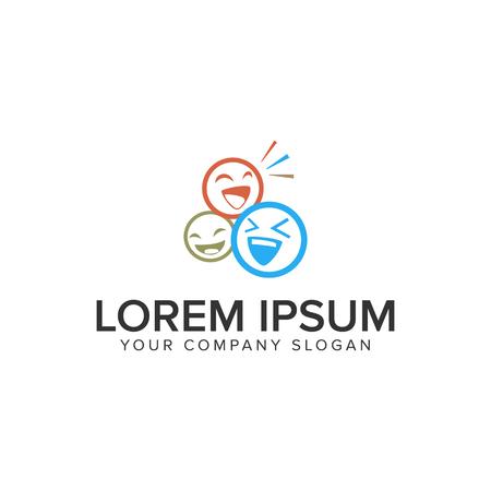 Emoticon persone logo design modello di concetto. vettore completamente modificabile