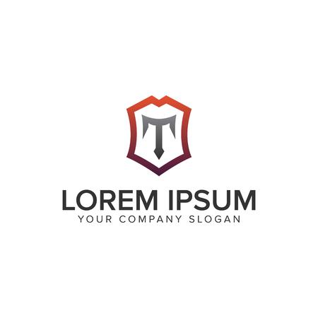Luxury shield letter T logo design concept template. fully editable vector