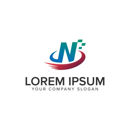 Letter N technology logo design concept template Ilustração