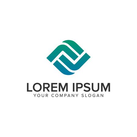 Letter F modern Box logo design concept template