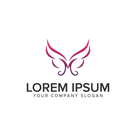 Letter M wings spa logo design concept template