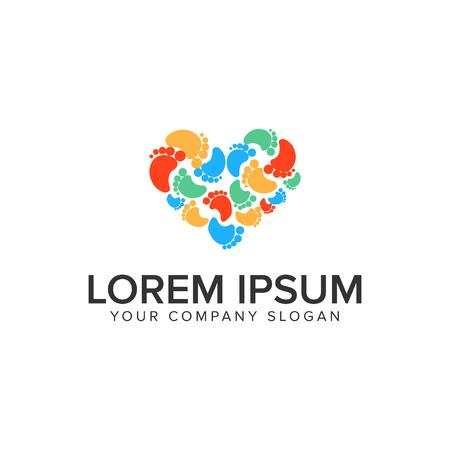 Fußabdruck Liebe Logo Design Konzept Vorlage Standard-Bild - 95457559