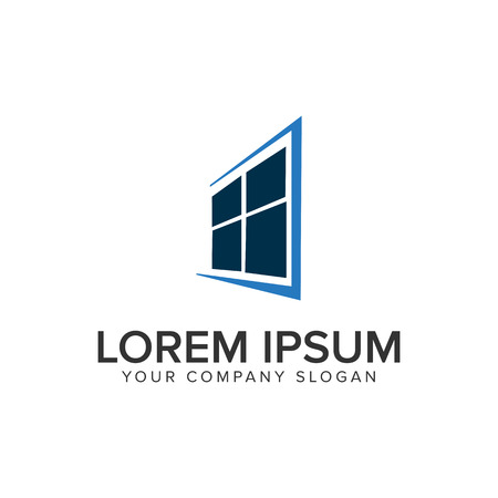 A window house logo design concept template.  イラスト・ベクター素材