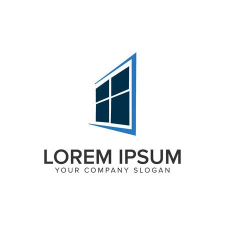 A window house logo design concept template. Stock Illustratie