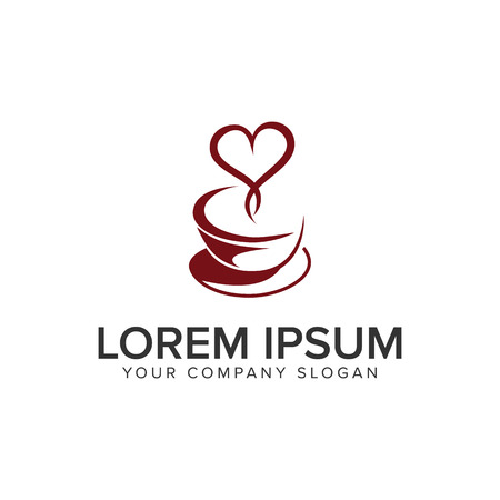Coffee love logo design concept template.