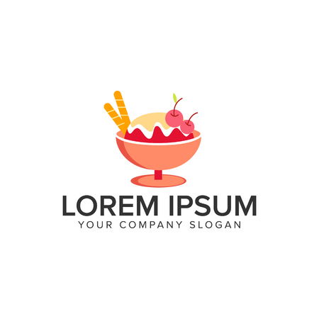 Ice cream logo design concept template.