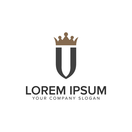 A letter U with crown luxury logo design concept template.