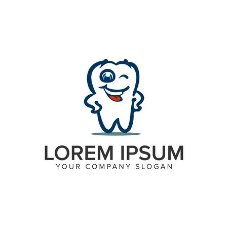 A smile dental cartoon logo design concept template.