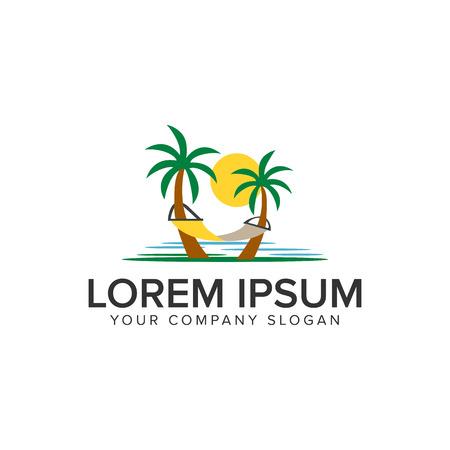 A beach landscape palm tree logo. holiday logo design concept template.