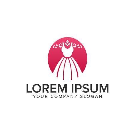 A fashion dress beauty logo design concept template.