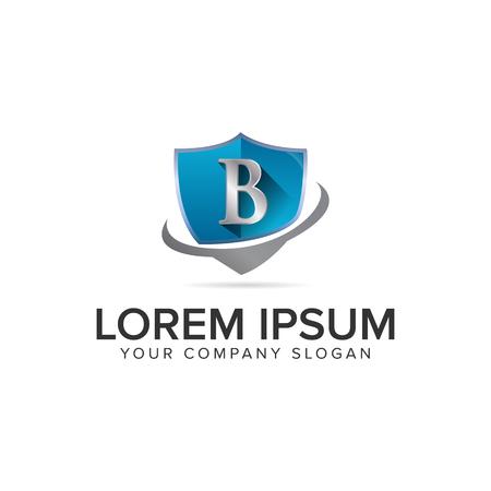 lettera B scudo logo design modello di concetto.