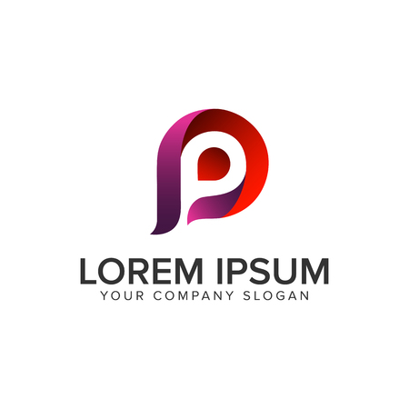Letter P modern logo design concept template. Иллюстрация
