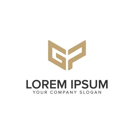 편지 G와 P 독특한 창조적 인 로고 디자인 개념 템플릿. 스톡 콘텐츠 - 95653400