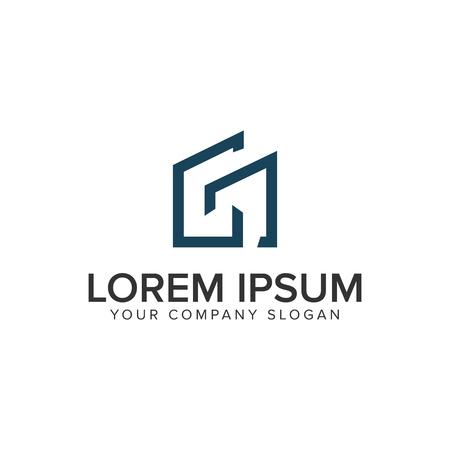 Litera G minimalistyczny szablon koncepcji projektu logo nieruchomości.