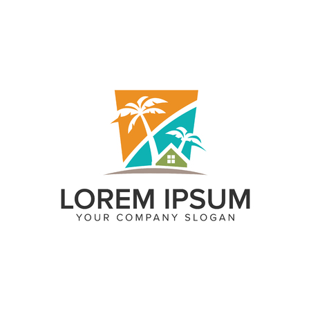 Palm tree house logo design concept template.