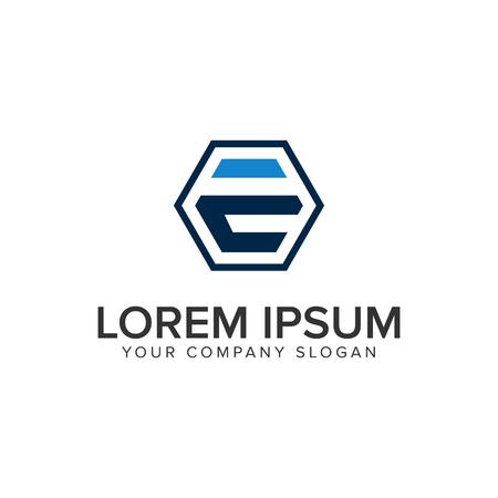 Letter E hexagonal logo design concept template.