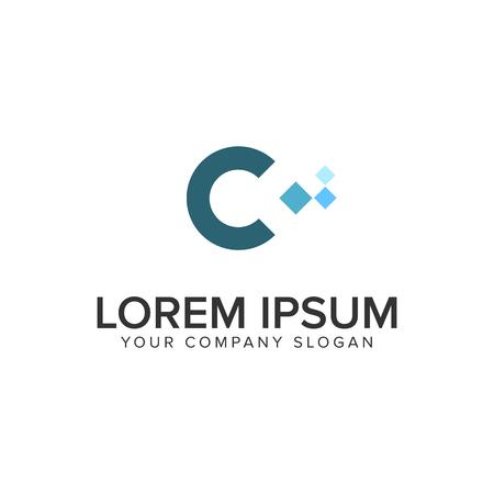 Letter C pixel logo design concept template.
