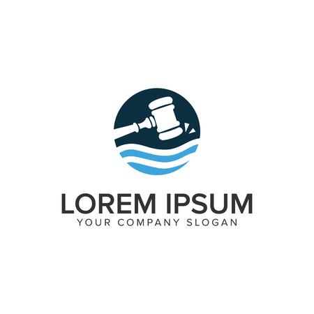 Hammer law logo design concept template.